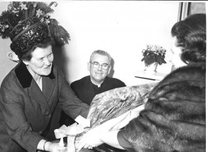 Mrs Mary Nihill, receiving a gift for long services to Apostolic Work.